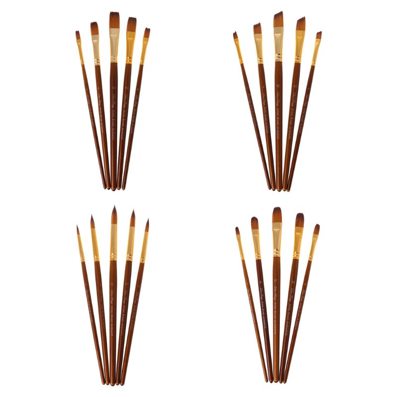 5pcs Paint Brushes Round/Filbert/Angel/Flat Nylon Hair Watercolor Paintbrushes