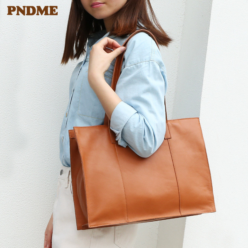 PNDME Casual Simple High Quality Genuine Leather Ladies Briefcase Handbag Luxury Cowhide Women Tote Bag Work Shoulder Laptop Bag