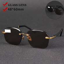 Glass Rimless Brown Shades Oversized Anti-Reflection Vazrobe Men for Man 150mm Crystal