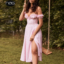 Midi Dress Strapless Split-Print Pink Floral Ruffles Off-Shoulder Women Sexy Summer Newasia