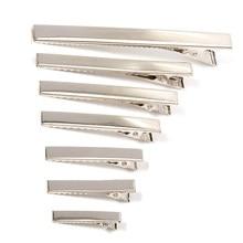 50/20 pces metal cabelo jacaré clipes 30mm/40mm/45mm/55mm/65mm/75mm/100mm descobertas para diy jóias estilo de cabelo ferramentas acessórios