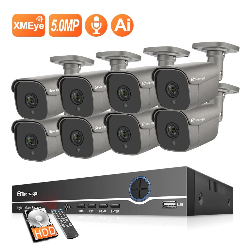 Techage 8CH 5MP System kamer CCTV Ai wykrywanie człowieka CCTV rozmowa dwukierunkowa zewnętrzny wodoodporny zestaw nadzoru wideo w domu