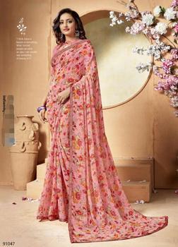 الهند الساري الهندي امرأة جميلة الطباعة الأزهار العرقية ساري 2