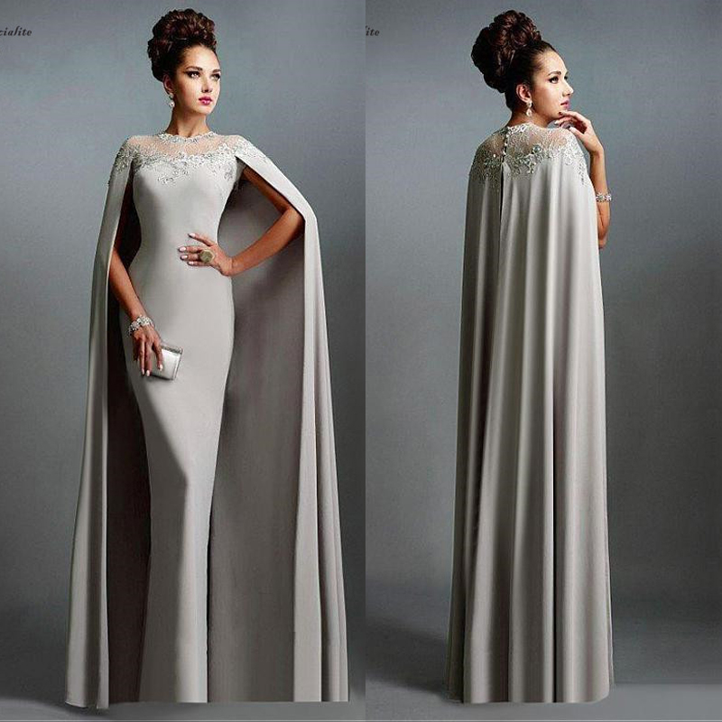 Gray Long Mermaid Evening Dresses With Cape Lace Appliques Floor Length Customized Formal Gowns Prom Dresses Robe De Soiree