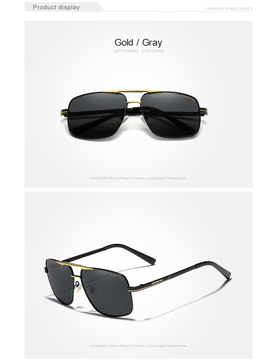 KINGSEVEN Men's Sunglasses Brand Designer Pilot Polarized Male Sun Glasses Eyeglasses gafas oculos de sol masculino For Men