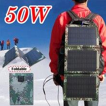 Panneau solaire 50W double USB, chargeur d'urgence Portable, pliable, étanche, pour l'extérieur, batterie, câble 4 en 1