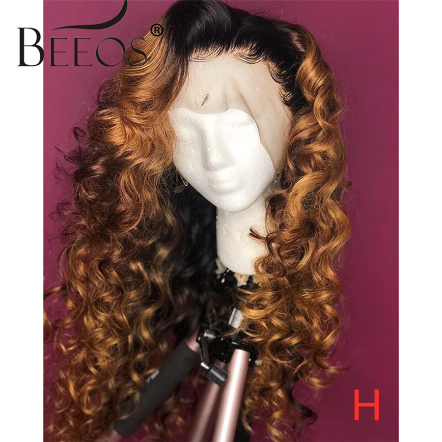 Beeos 13*6 180% Ombre Colored Deep Part Lace Front Human Hair Wig Deep Wave Pre Plucked Bleached Knots Brazilian Remy Hair