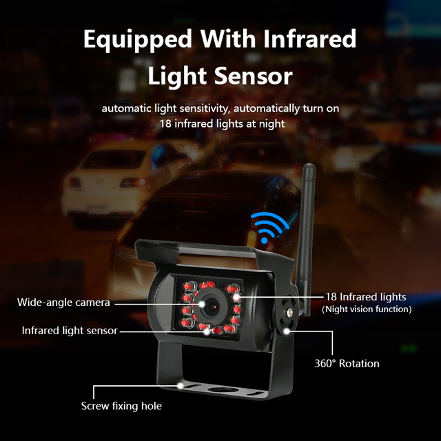 7 Inch Wireless Car Monitor 18 Infrared Lights Night Vision 2