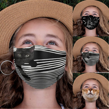 1pc Kids Mouth Mask Breathable Animal Cat Print Face Cover Mask Reusable Washable Masque Mascarillas Cosplay Costume Accessories image