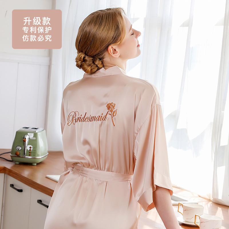 New Products Bride Bride Gown Morning Gowns Women's Women's Robes Wedding Makeup Bridesmaid Mission Marriage Kimono Imitated Sil