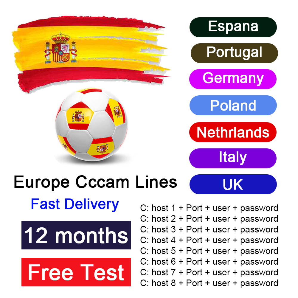 TV Receiver CCCAM Used For 1 Year Of European Stable Server HD Ccam Used In Spain Portugal Germany Poland For Satellite Receiver
