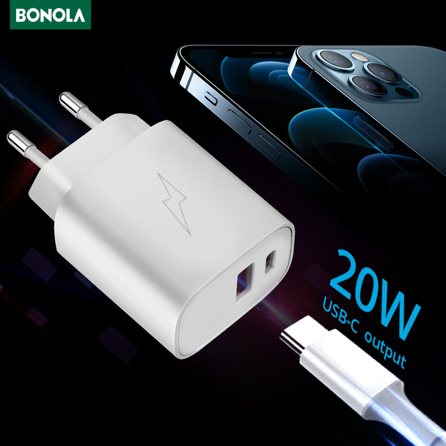 BONOLA 20W سريع شاحن محول ل فون 12/12 برو/12 برو ماكس سامسونج Xiaomi الاتحاد الأوروبي الولايات المتحدة المملكة المتحدة التوصيل 2 ميناء USB نوع C سريعة شواحن
