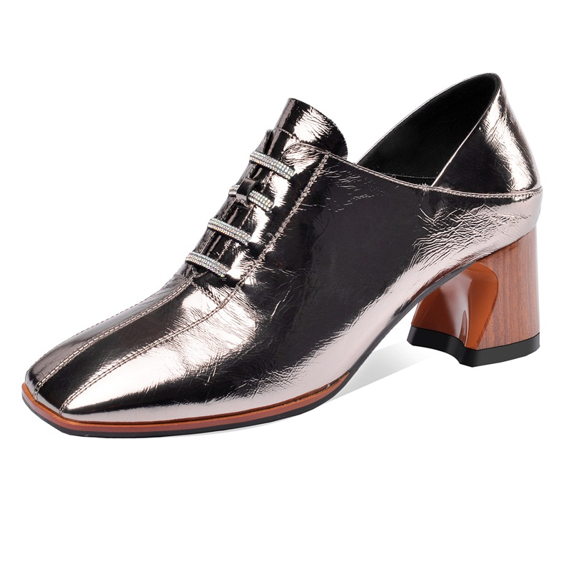 Genuine Leather Square High Heels Shoes Woman On Party Wedding Shoes