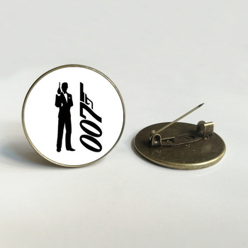 007 convex round Glass brooch movie fan accessories action film black James Bond 007 pattern brooch men's gift image
