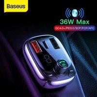 Baseus Quick Charge 4.0 caricabatteria da auto per telefono trasmettitore FM Kit per auto Bluetooth Audio lettore MP3 caricatore rapido doppio per telefono USB per auto
