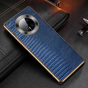 Image 4 - غلاف خلفي من جلد البقر الطبيعي الحقيقي لهاتف Huawei Mate 40 Pro ، تمساح ، نمط سحلية ، أعمال
