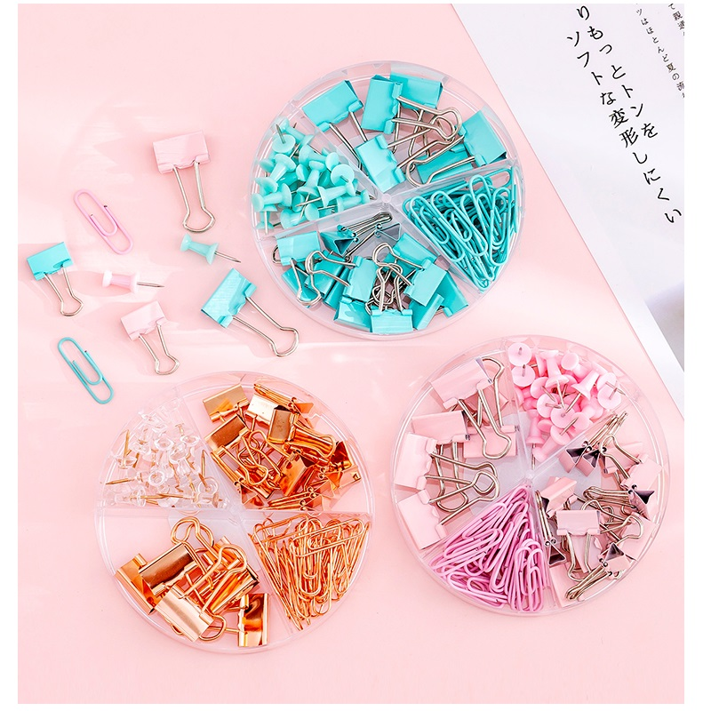 6 set/Lot Green Pink Rose Gold Color Binder Clip Paper Clips Push Pins Stationery Office File Index Binding School Student A6022