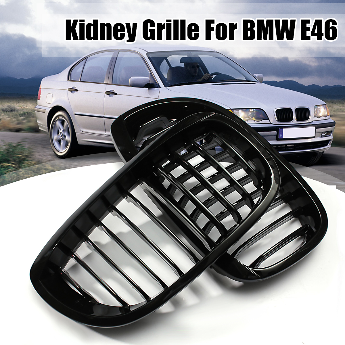 Front Center Kidney Grille Grill for 2003-2006 BMW E46 2-Door Coupe Cabriolet Glossy Black