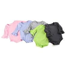 Newborn ruffle Infant Baby Girl Clothes Flared Sleeve Romper Brife Jumpsuit Sunsuit Outfits bodysuits ruffle flared hem surplice wrap jumpsuit