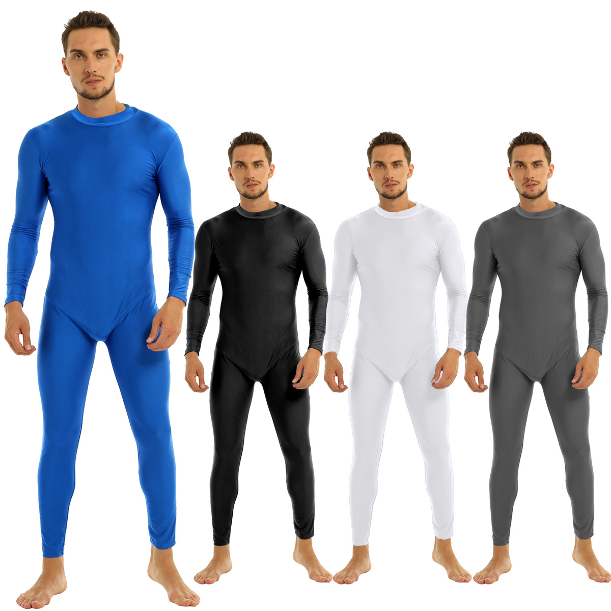 Mens Well Fit One Piece Leotards Long Sleeves Skinny Full-body Catsuit Adult Lycra Dancewear Bodysuit Gymnastics Workout Unitard 13