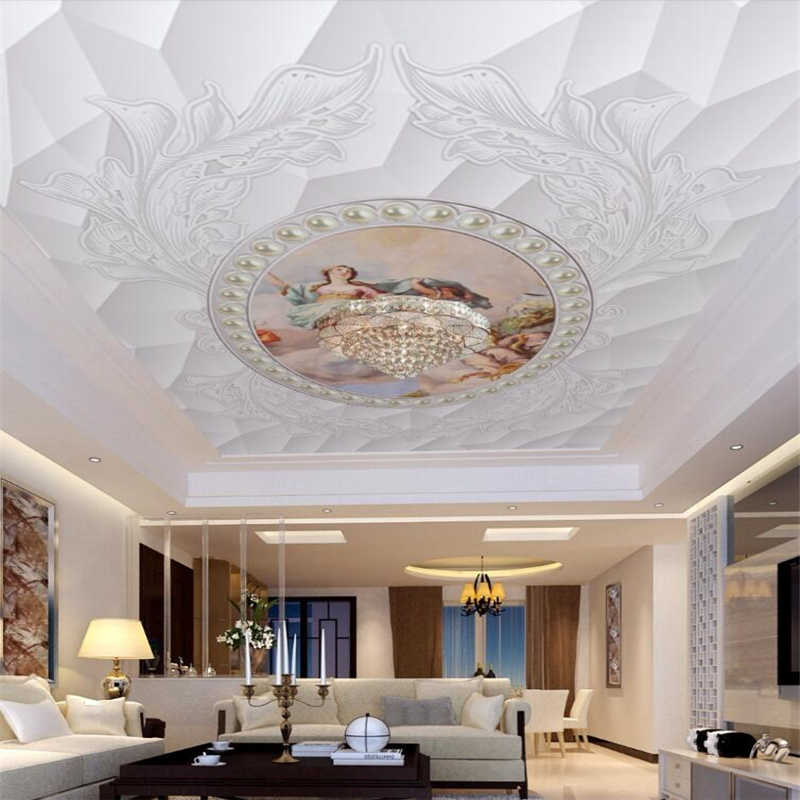 wellyu Custom wallpaper 3d обои European pattern three-dimensional jewelry oil painting ceiling roof fresco 3d wallpaper behang