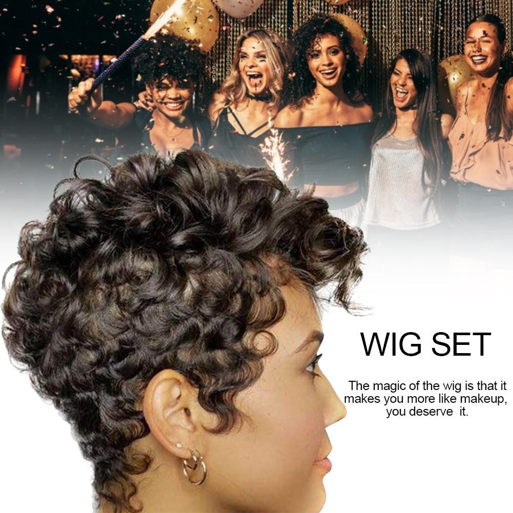 Black Short Curly Wigs Natural Synthetic Hair Wigs For Women