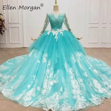 Mint Green Long Sleeves  Ball Gowns Prom Dresses 2020 Real Photos Lace Puffy Ruffles Corset Event Pageant Party for Women Wear