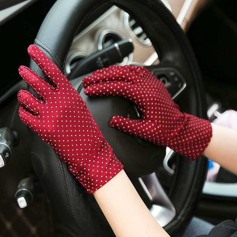 Fashion Mittens Wrist Glove Polka Dot Print Protection Lady Gloves Summer Driving Sunscreen Glove Knitted Fabric Vintage Mittens