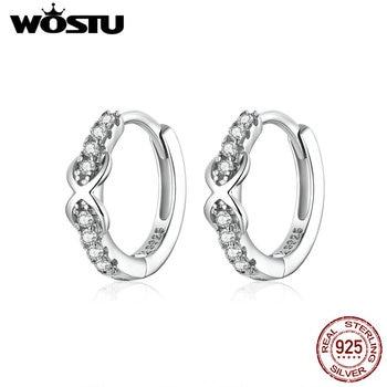 WOSTU 2020 Genuine 925 Sterling Silver Jewelry Black Spinel Stone Cute Stud Earrings for Women Girls Gift 7