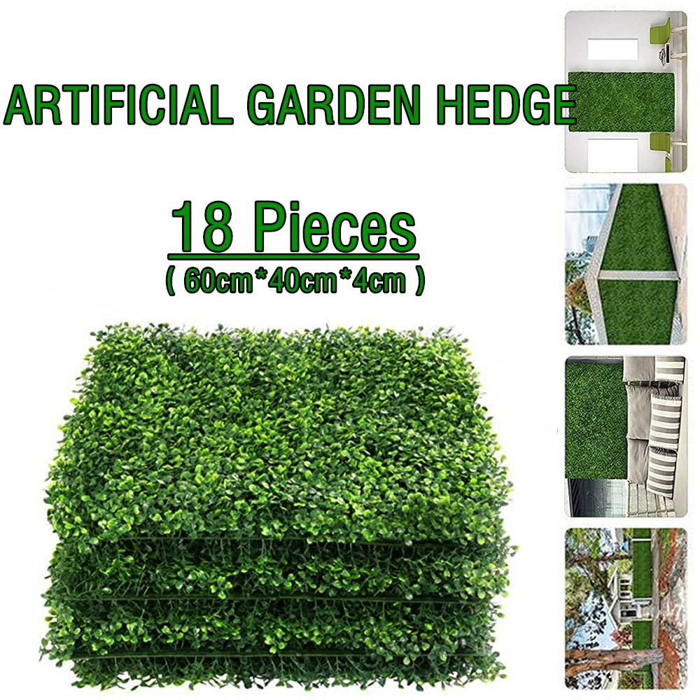 14/16/18 Pcs BOXWOOD HEDGE ARTIFICIAL PLANTS MAT PRIVACY FENCE SCREEN FAUX GREENERY WALL PANELS DECORATIVE SUITABLE FOR GARDEN
