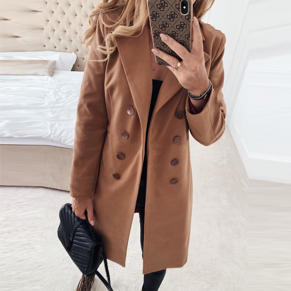 Autumn Winter Long Woolen Coat Women Casual Plus Szie Long Sleeve Lapel Double-breasted Elegant Slim Warm Woolen Cloth Outwear
