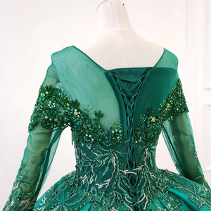 Image 5 - HTL1165 女性イブニングドレス o ネックアップリケスパンコールパターンの房の高級長袖新イブニングドレス vestidos デ · フェスタロンゴ