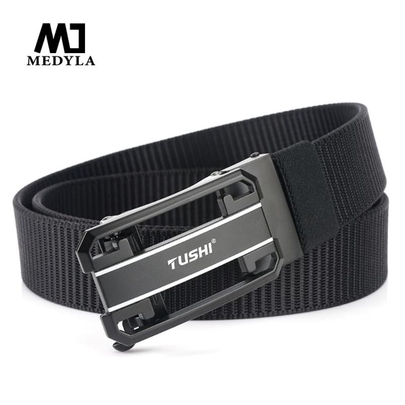 MEDYLA 2020 New Automatic Buckle Tactical Belt Hard Metal Buckle Soft Real Nylon Men's Military Belt Quick Release Buckle Belt