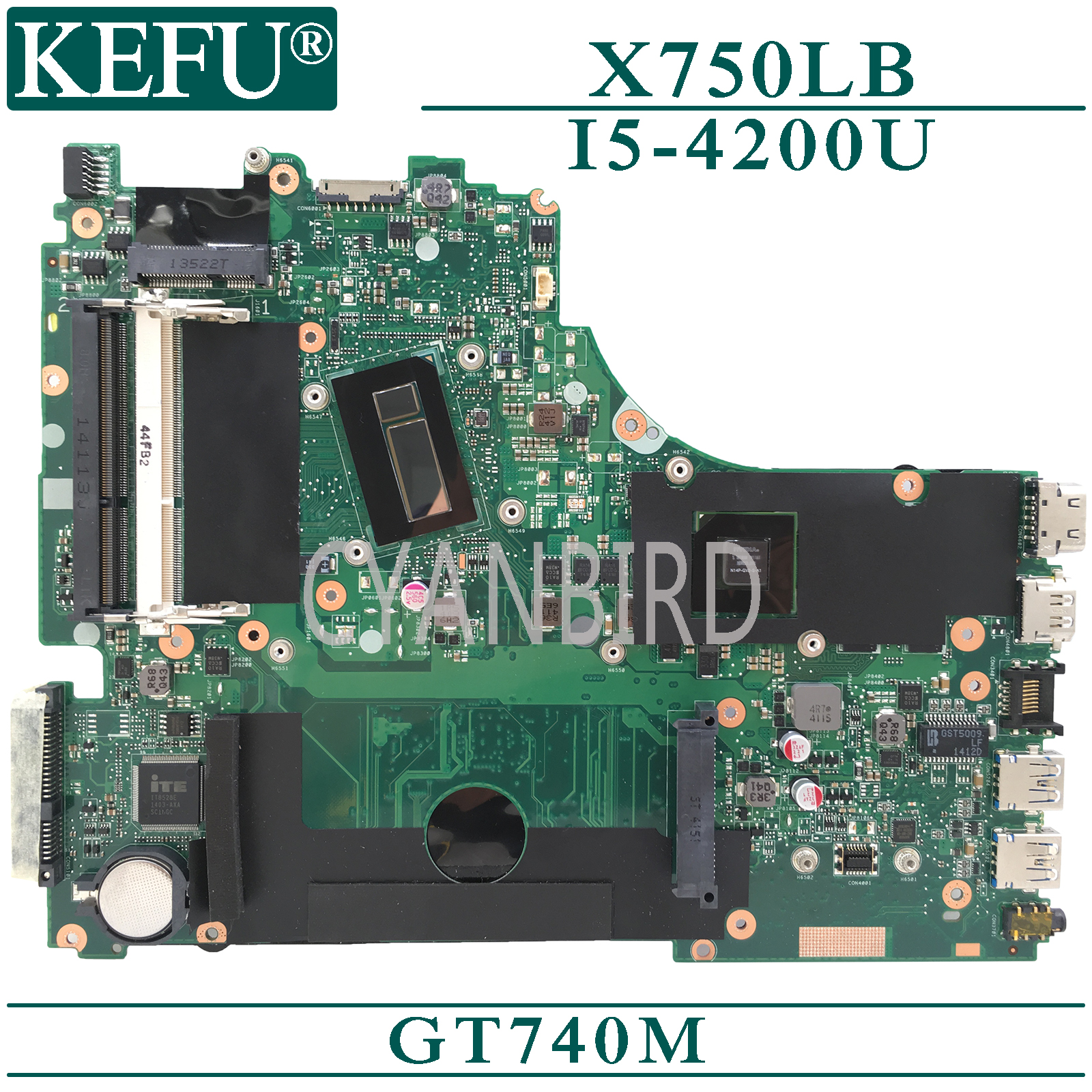 KEFU <font><b>X750LB</b></font> original mainboard for <font><b>ASUS</b></font> <font><b>X750LB</b></font> with I5-4200U GT740M Laptop motherboard image