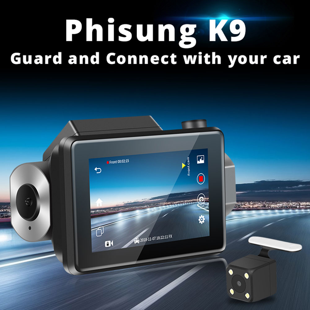 Dash Cam 3G Car DVR with Android GPS Log Dual Lens 1080p Dash Camera WIFI Car Cam Video Registrar Drive Recorder for Phisung K9 image