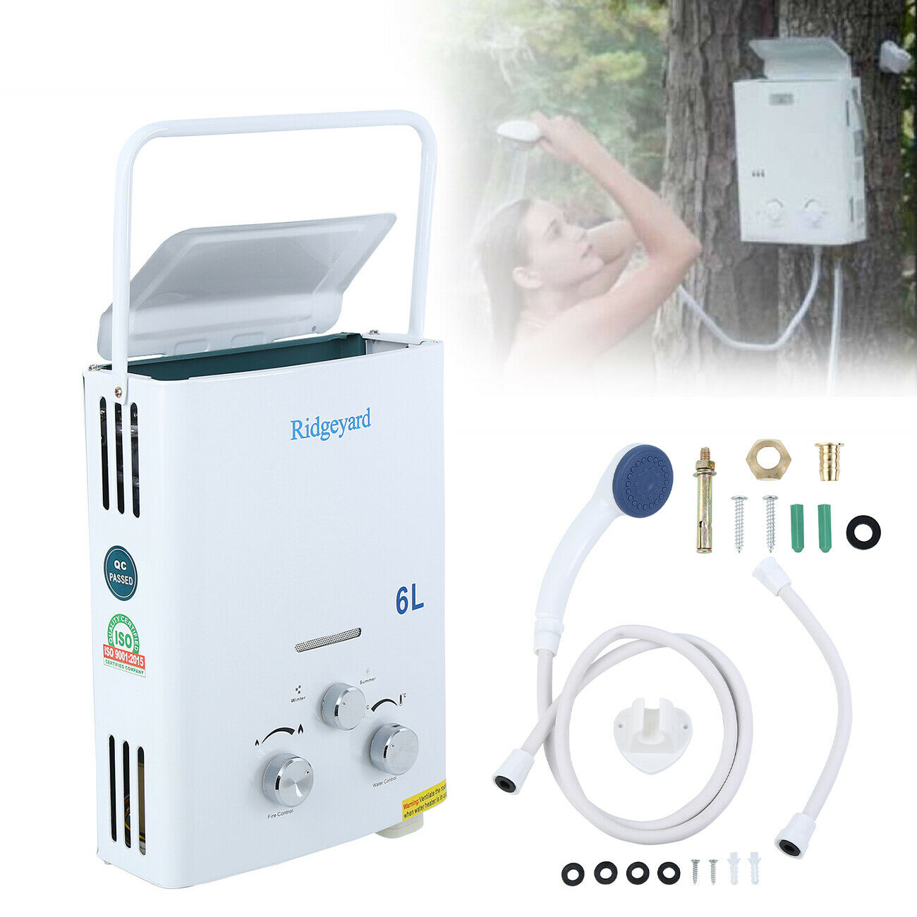 6L LPG Propane Gas Tankless Water Heater Instant Bath With Shower Head Hot Water Heater Boiler Calorifier EU Shipping