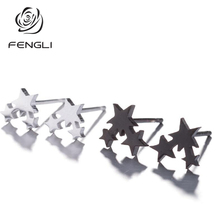 FENGLI Creative Star Stud Earrings Fine Jewelry Geometry Delicate Summer Brincos Bijoux For Women Girl Drop Ship Wholesale