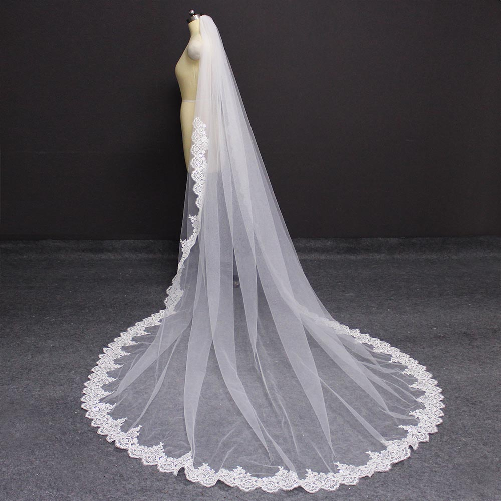 New Neat Glitter Sequined Partial Lace Edge 3 M Wedding Veil With Comb White Ivory 300cm Long Bridal Veil Wedding Accessories