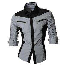 Sportrendy Mens Shirt Dress Casual Long Sleeve Slim Fit Fashion Dragon Stylish JZS053 Gray