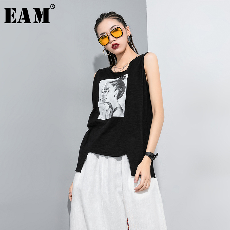 [EAM] Women Black Pattern Printed Asymmetrical T-shirt New Round Neck Sleeveless  Fashion Tide  Spring Summer 2020 1T305
