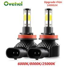 OVEHEL H7 LED سيارة العلوي 4 الجانب 360 درجة LED 14000LM H1 H4 H8 H9 H11 الصمام العلوي BulbHB3 9005 HB4 9006 سيارة أضواء 6000K