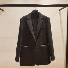 High quality OL coat  2019 Fall/winter pearls beading black blazers jackets A719