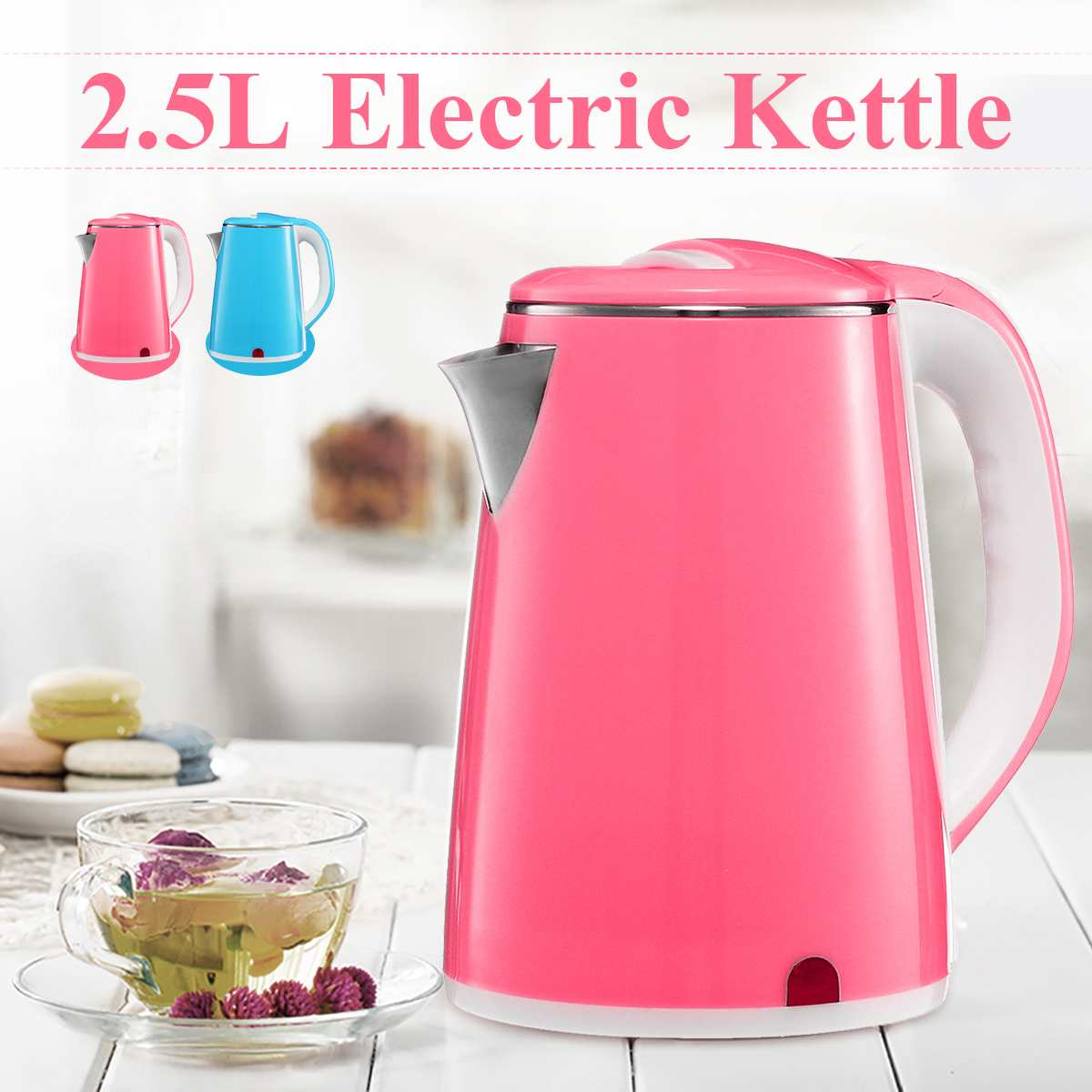 2.5L Double-layer Stainless Steel 220V 1500W Power 360 Degree Rotational Base Overheating Power Off Electric Water Kettles