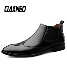 CLAXNEO Chelsea Boots Men Leather Shoe Vintage Black Man Shoes Genuine Leather Ankle Boot Pointed toe Dress Footwear round toe man monk straps chelsea shoes british designer genuine leather handmade footwear formal men s martin ankle boots js35