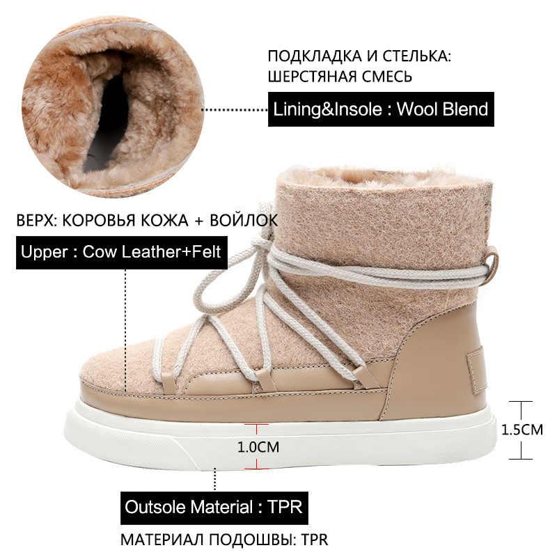 Donna-inek deri su geçirmez kadın kar botları yün karışımı sıcak tutmak yarım çizmeler düşük topuklu Lace Up yeni 2020 kış düz ayakkabı