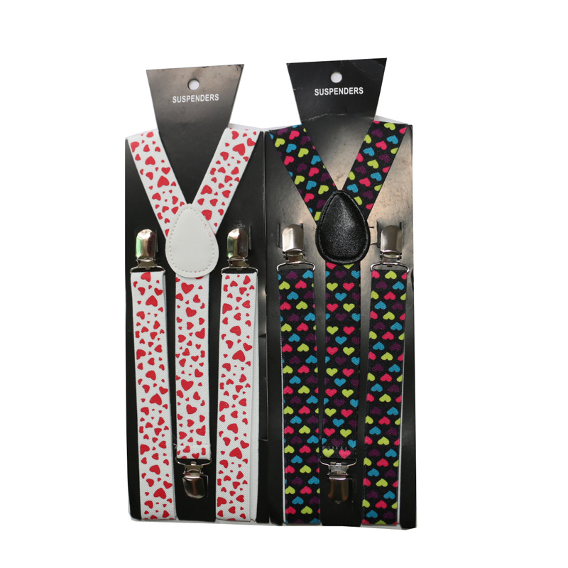Adult Print Love Suspenders Y-back 3 Alloy Clips Elastic Shirt Suspenders For Pants Adjustable Women Colorful Braces