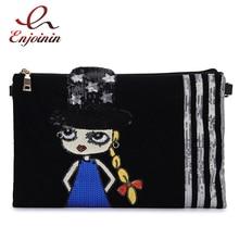 Envelope-Clutch Handbags Purses Crossbody-Bag Sequined Fashion Women for Girl Cartoon