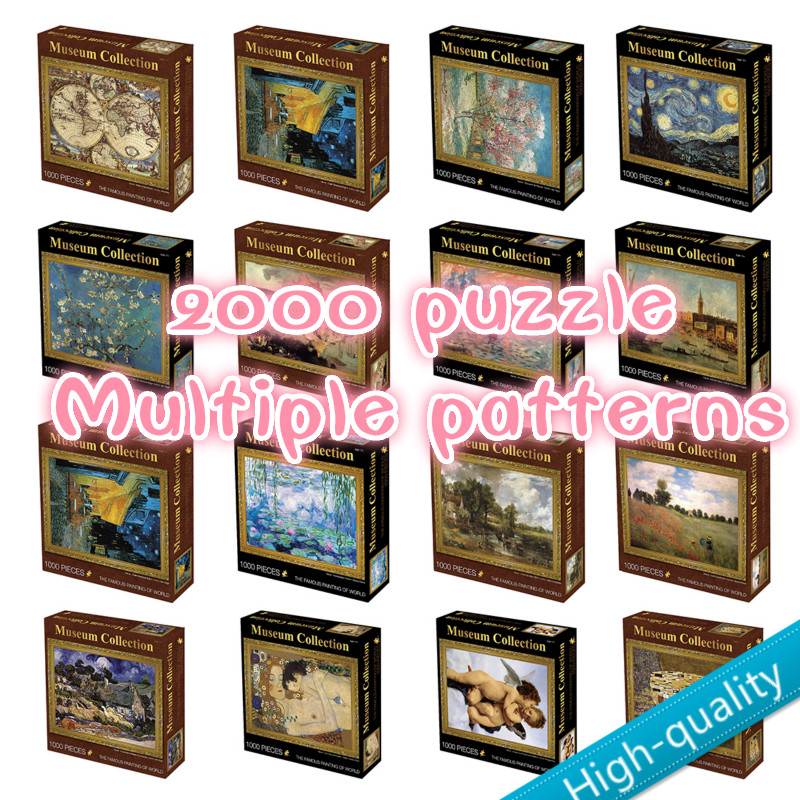2000 Pieces DIY Adult Puzzle Kids Jigsaw Landscape Paper Puzzles Educational Toys For Children Animation Pairing Puzzles Gift