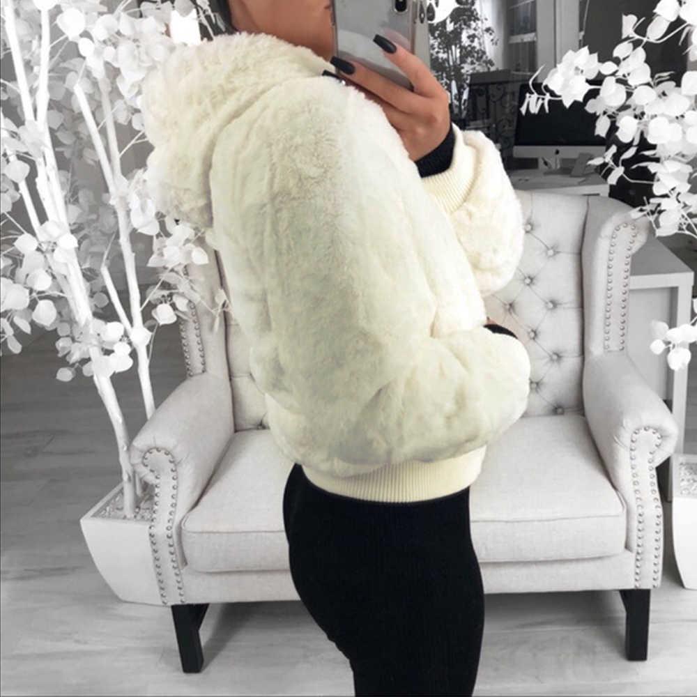 LASPERAL 2020 새로운 가짜 모피 여성 코트 후드 하이 웨이스트 패션 슬림 블랙 레드 핑크 가짜 모피 자켓 가짜 토끼 모피 코트
