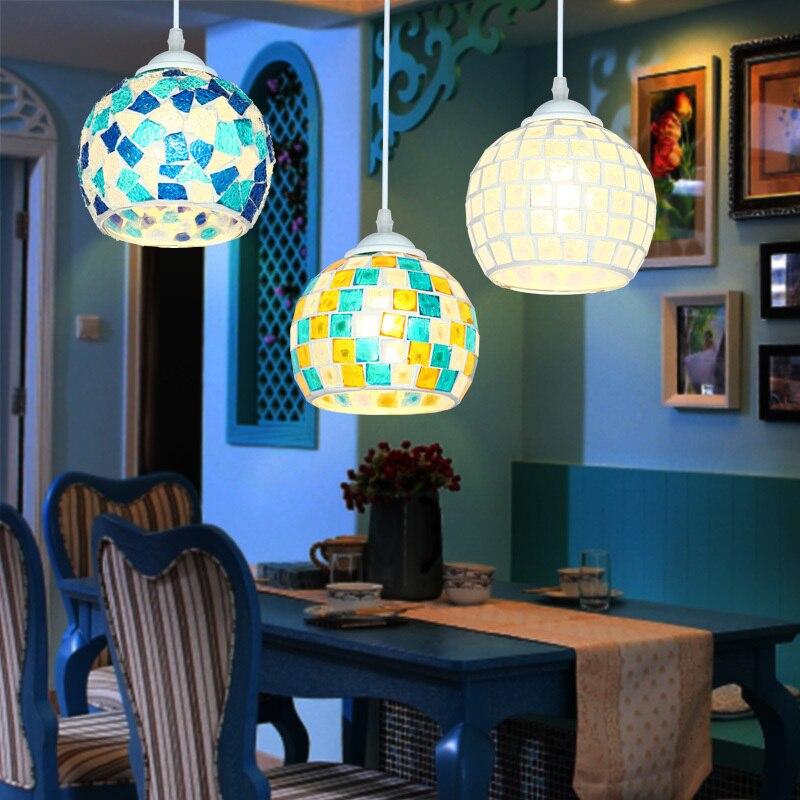 Bohemian Style Colorful Mosaic Glass Shell Pendant Light Cafe Restaurant Lamp Hanglamp